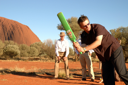 [Steve Waugh playing cricket in the desert]
