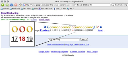 "[Google results for ""dead reckoning"" places the site at the 18th ""o"" page]"