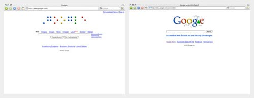 [Louis Braille tribute and Google Labs logo for Accessible Search]