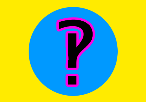 [very brightly coloured interrobang]