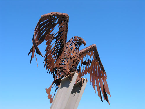 [Iron eagle sculpture on Kirra Hill at the Gold Coast, Queensland, Australia]