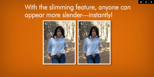 [HP advertisement: With the slimming feature, anyone can appear more slender—instantly!]