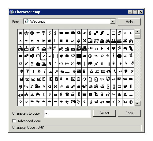[Windows Character Map showing Webdings]