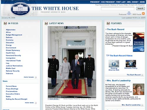 [whitehouse.gov before the Inauguration]