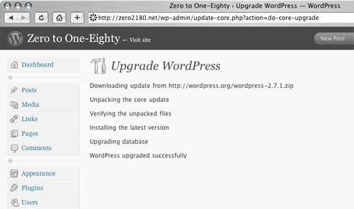 [screenshot WordPress core upgrader]