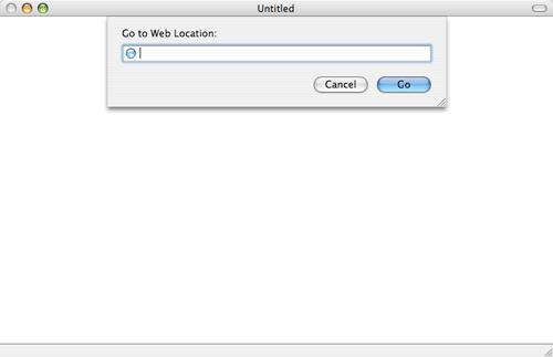 [Camino with location toolbar hidden, displaying drop-down location bar sheet]