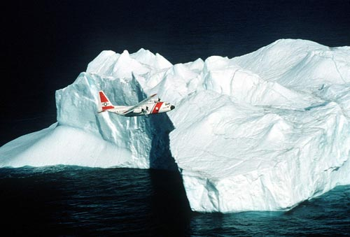 [wikipedia image and caption: Coast Guard C-130 aircraft overflies an iceberg during patrol in the Arctic Ocean]