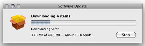 [Mac OS X Software Update download progress meter with semi-transparent yellow box icon]