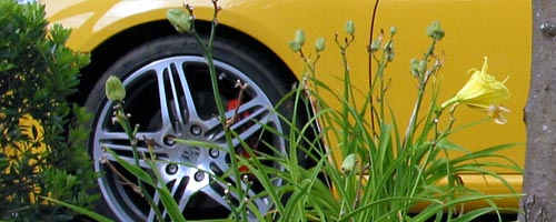 [front wheel of a late model yellow Porsche Boxter showing red brake caliper]