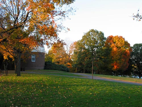[fall colours, looking north towards Van Vleck Observatory on Foss Hill]
