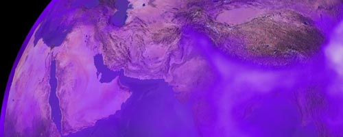 [section of Earth from space showing atmospheric areas high in black carbon]