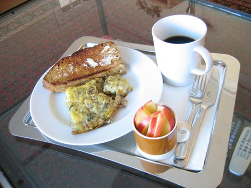 [breakfast on a silver tray]