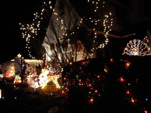 [Christmas lights in the neighbourhood, nighttime]