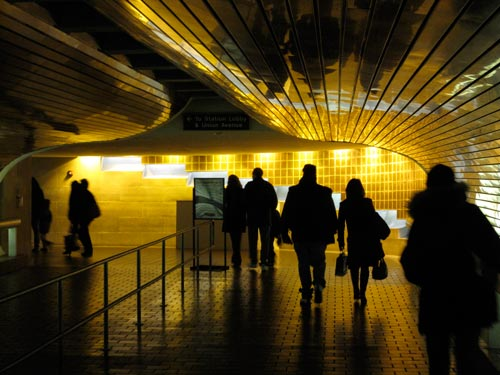 [mostly gold, passenger track tunnel at Union Station, New Haven]