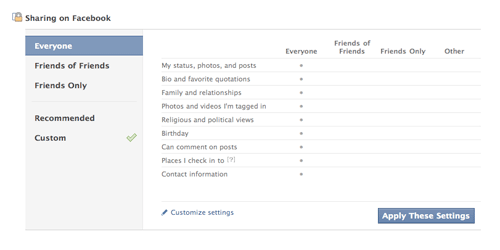 [Facebook privacy settings sharing panel]