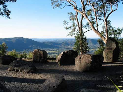 [stones at Jolly's Lookout, overlooking the D'Aguilar Range]