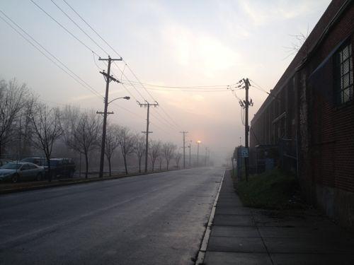 [North Main St in fog]