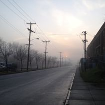 [North Main Street in fog]